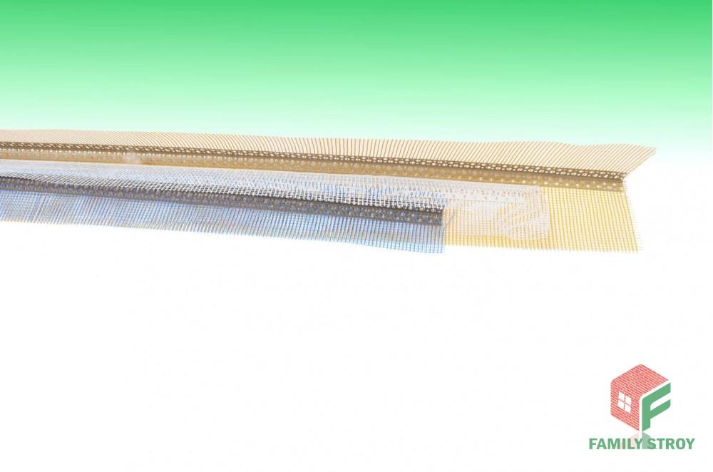 Угол фасадный ПВХ с сеткой 150*100мм, длина-3000 мм