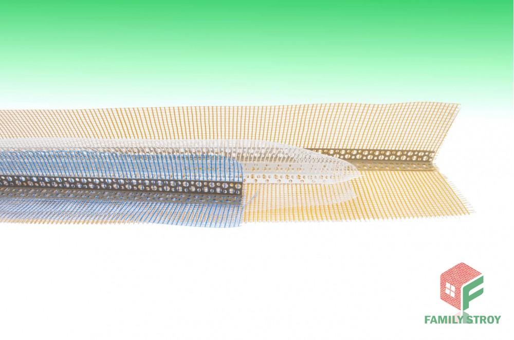 Угол фасадный с сеткой, длина-3000 мм
